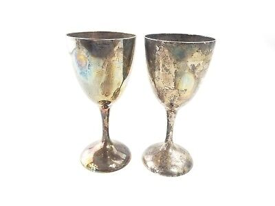 """Pair of Vintage International Silver Co Wine Glasses Goblets Silverplate 6"""" Tall"""
