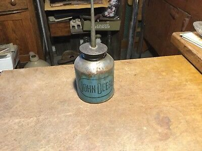 Vintage John Deere Thumb Oiler, Oil Can, Blue, Logo and Can Good Condition.