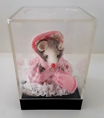 Vintage Original Fur Animals Toy Mouse Pink Gingham Dress In Case W. Germany