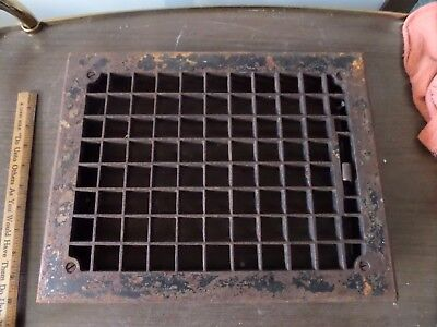 "Vintage Cast Iron Floor Wall Heat Register Grate Vent 14"" X 11"" With Louver Fins"