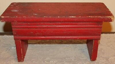 Antique Primitive Handmade American Folk Art Step Stool Wooden