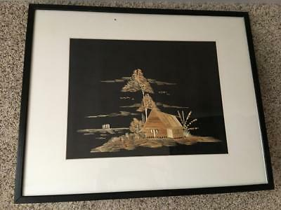 Vtg Straw Grass Picture Print Farm House Tree by Lake Oriental Art Craft Framed