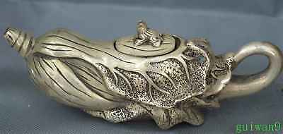 Old Collectable Miao Silver Hand Carve Cute Cabbage Ancient Royal Art Tea Pot