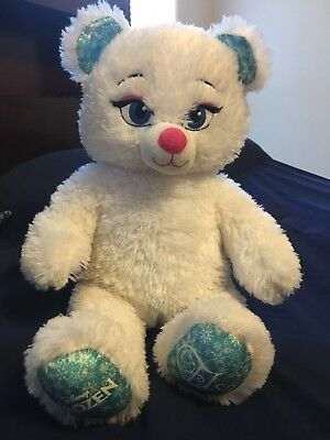 Build A Bear Workshop BAB Disney Frozen Elsa White Sparkly Plush Teddy Bear 16""
