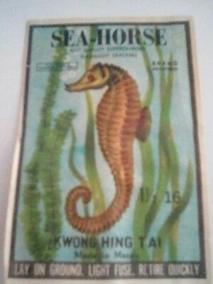 Vintage Firecracker Label     ((  Sea  Horse  ))  Brand   Rare And Collectable