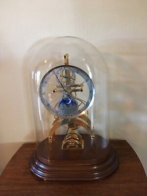 Skeleton Clock with Dome Large 24K Gold Plated Astro and Moon Dial Chain Fusee