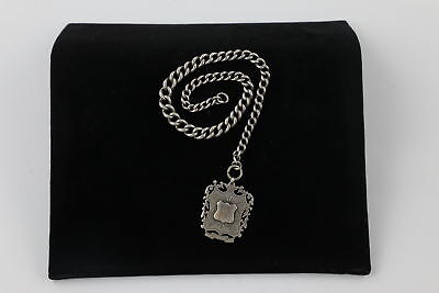 Vintage .925 Sterling Silver Graduated Albert Pocket Watch Chain w/ Fob (41g)