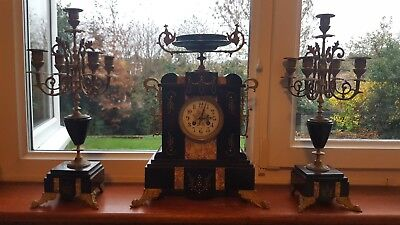 antique french mantle clock and candlesticks