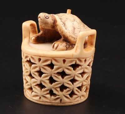 Vintage Chinese Cattle Bone Jewelry Box Old Hand-Carved Tortoise Basket Ornament