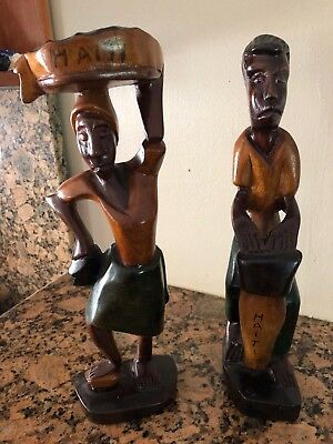 Authentic Wooden Haitian Statues Male and Female Set Handmade