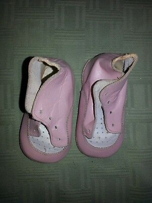 Vintage Antique Childrens  Pink with white leather shoes