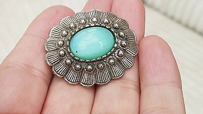 Vintage Art Deco Jewellery Lovely Crafted Green Moonstone Silver Brooch Lace Pin