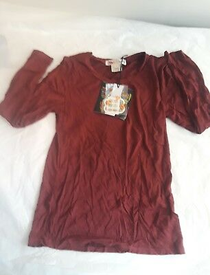 Ragdoll And Rockets Boutique Girls Boca Tee Top Sienna sz 8 Maroon Ret $32 NWT