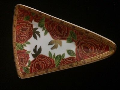 """Limoges """"so French""""  Decor Du Galion Red Rose Dish Triangle Gold Trim"""