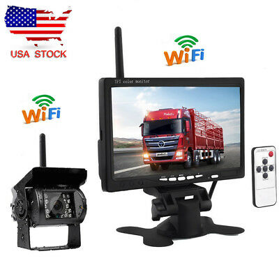 "7"" Monitor + Wireless IR Rear View Backup Camera Night Vision for RV Truck Bus"