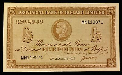 1972 Provincial Bank of Ireland 5 Pound Note. ITEM Y25
