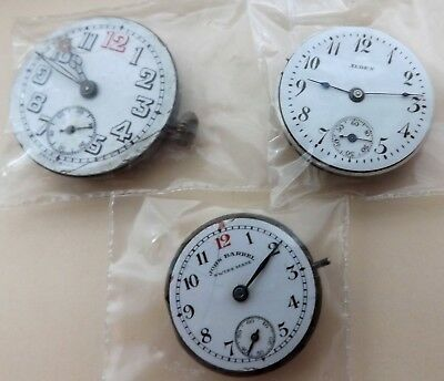 3 deco WATCH MOVEMENT mechanisms 1920's vintage antique arts crafts supply LOT
