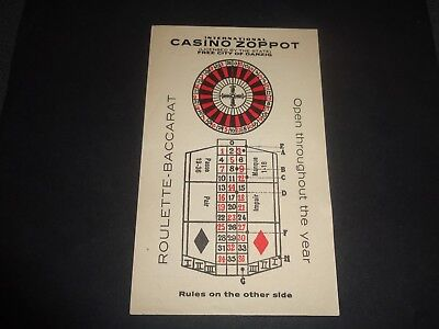 c 1930s Casino Zoppot, Free City of Danzig (now Gdansk), Roulette-Baccarat Card