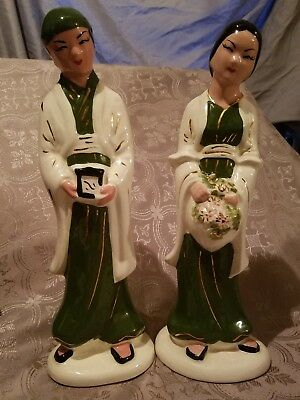 Vintage Chinese Famille Rose Porcelain Man, Woman Statues Wedding? Handpainted