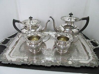 Antique Vintage Sheffield Reproduction Silver On Copper 5-Pc. Tea/coffee Set
