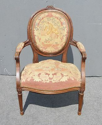Vintage French Louis Style Floral Design Carved Wood Tapestry ACCENT CHAIR