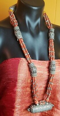 Rare find, old, necklace from Yemen, Silver capsule pendant and old Coral beads.