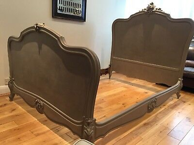 Antique French Louis XV Style Rococo Double Bed Frame Painted in Annie Sloan
