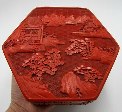 "Vintage hand carved Chinese cinnabar hexagonal panel box 6"" ½ x 2"" 3/8"