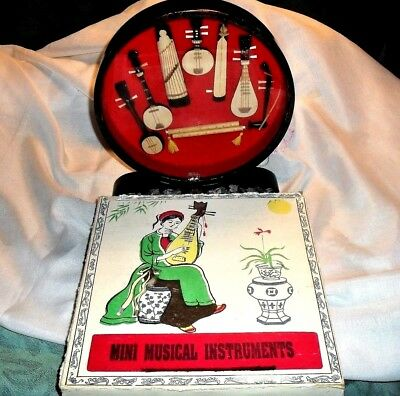 Hand Made Miniature Mini Musical Instruments Collection In Asian Curio Cabinet
