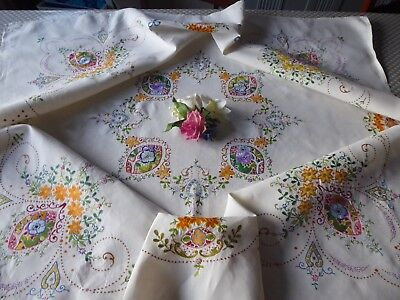 Vintage Hand Embroidered  Linen Tablecloth = Very Beautiful Arts&crafts Style