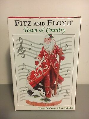 Fitz and Floyd Town & Country Santa Claus Figurine Musical Christmas Statue