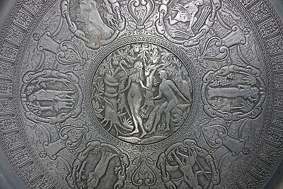 Stunning Quality Highly Decorated Adam & Eve Pewter Wall Plaque - Very Rare L@@k