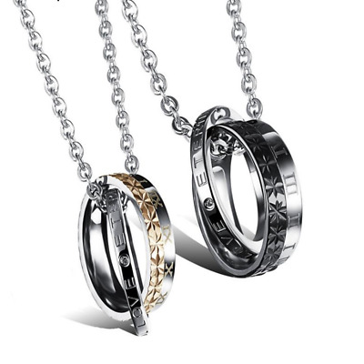 Fashion Unisex 316L Stainless Steel Double Ring Chain Couple Necklace Gift GX456