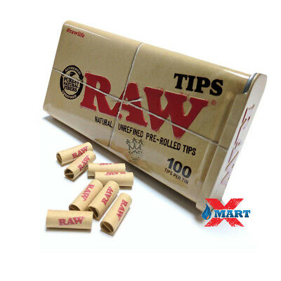 RAWTHENTIC RAW Slide Tin + 100 Pre Rolled Tips - Chlorine Free