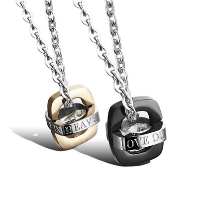 Fashion Unisex 316L Stainless Steel Diamond Chain Couple Necklace Gift GX949