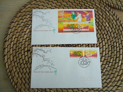 Christmas Island fdc 2001 x 2 year of the Snake    Set and Mini Sheet