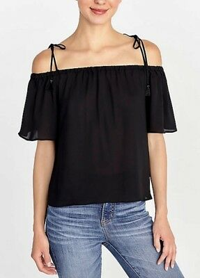 b50886e85a434 NEW J CREW PRINTED TIE Cold-Shoulder Top BLACK Shirt TASSELS Style  J0869 Sz