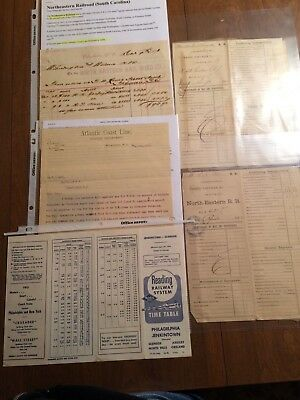6 Vintage/antique Railroad Documents/letters - 4 In 1800's, 2 In 1900's - P1308