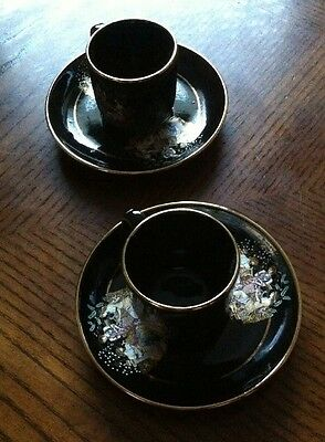 Greek Fakiolas Hand Made Black Expresso Cups And Saucers~24K Gold Motif & Trim~