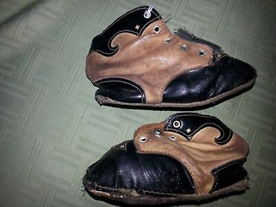 Vintage Antique Childrens   Black and Brown Leather high top shoes with cut outs