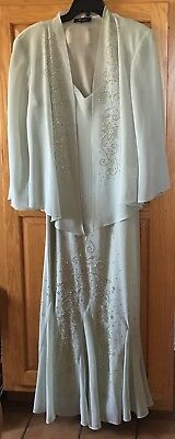 Mother Of The Bride Gown Green With Jacket. Silver Studded Design Size 16