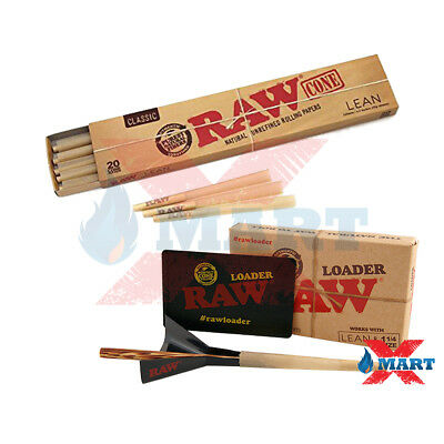 Raw Cone Loader PLUS 20 Raw Lean Size Pre Rolled Cones w/ Tips Combo