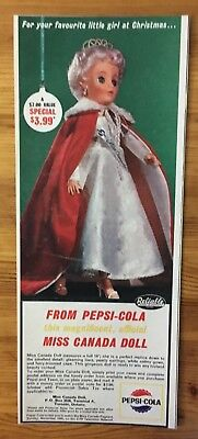 Rare 1963 Canadian Pepsi Cola Canada Miss Canada Reliable Doll Toy Premium