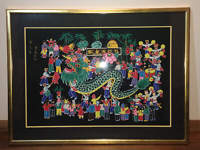 Large Antique Asian Dragon Dance Oil Painting Chinese Japanese Black Gold Bright