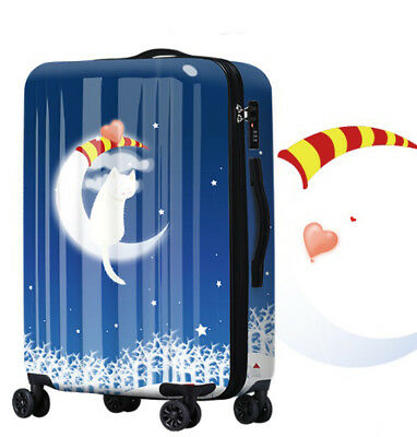 D616 Lock Universal Wheel Blue Snow Evening Travel Suitcase Luggage 20 Inches W