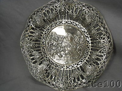 Large Scenic German Silver Plate Reticulated Pastry Tray Floral Swags Etc.