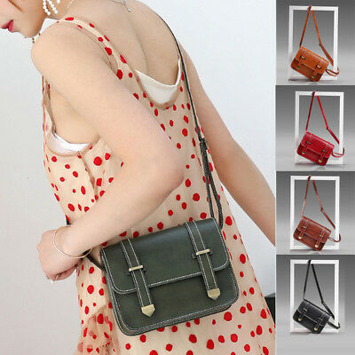 Fashion Mini PU Leather Bag Women Messenger CrossBody Bag Handbag Vintage Tote
