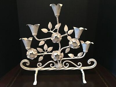 """Antique French Wrought Iron 19"""" Candelabra Centerpiece Shabby Chic"""