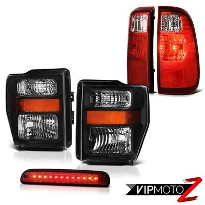 Clear/Black Headlights 3rd Brake Red LED Tail Lights 2008 2009 2010 Ford F250 SD