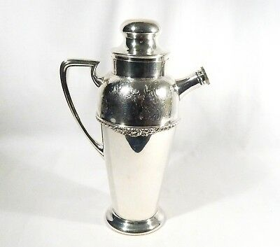"Old English Silverplate MARTINI Cocktail SHAKER 11"" Floral Band VERY NICE"
